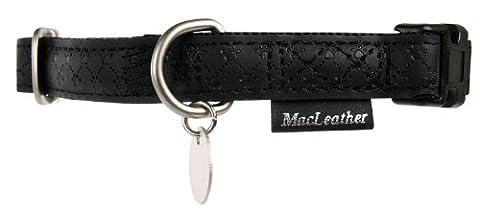 Collier Mac Leather Noir Tour de cou 27/40 cm x larg. 15 mm pour chien