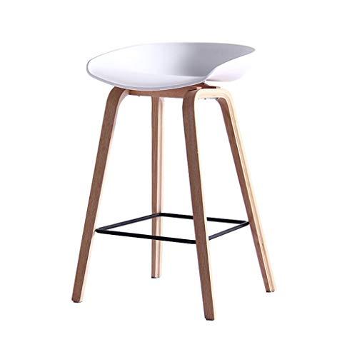 Zycg sgabello bar sgabello da bar for uso domestico gambe in legno massello poggiapiedi sedia cucina sedile for colazione, 52 * 45 * 74 cm (color : white)