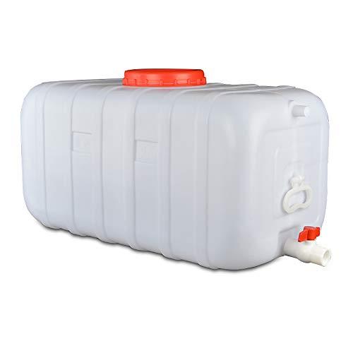 Outdoor-Wassertank Mit Wasserhahn Weiß Dicken Kunststoff-Wasservorratsbehälter Portable Home Storage Eimer Rechteckig, Säure- Und Alkalibeständig Industriellen Chemischen Fass ( Size : 150L )