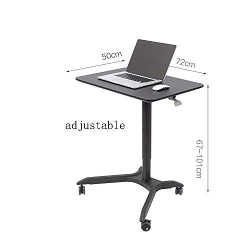 CZZ Laptop-Tisch Pneumatischer Mobiler Tischwagen Mit Stehhöhe, Höhenverstellbar Von 67 Bis 101 cm Weißer, Schwarzer Drop-Leaf-Tisch,B,Tabelle