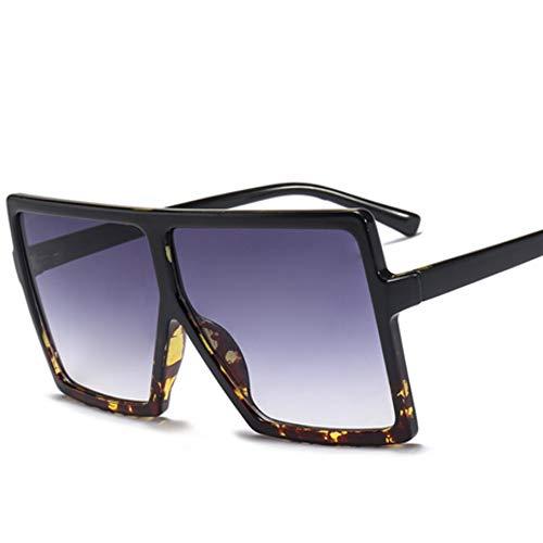WDDYYBF Sonnenbrillen, Lässige Mode Klassischen Komfort Übergrosse Sonnenbrille Frauen Quadrat Schattierungen Uv400 Damen Goggles Schwarzer Leopard Frame, Blaue Linse