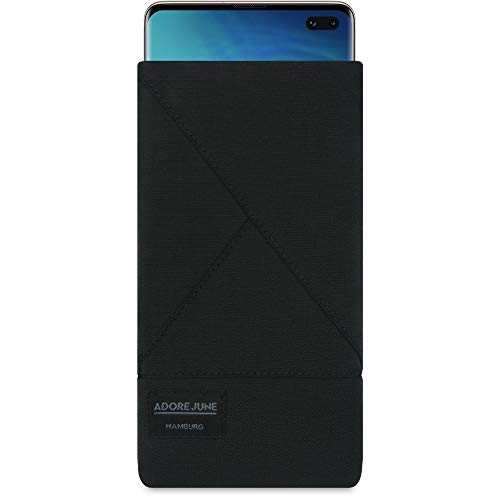 Adore June Triangle Custodia per Samsung Galaxy S10 Plus / S10+, Tessuto Resistente Display di Pulizia Effetto, Nero