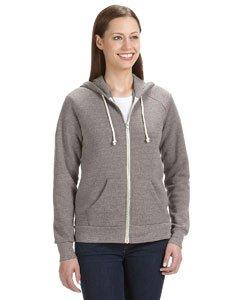 Alternative Damen Adrian Fleece Zip Front Hoodie Sweatshirt - grau - X-Groß Athletic Zip-front Sweatshirt