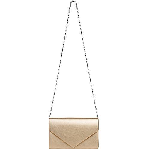 93d7fc7adf9a0 CASPAR TA362 elegante Damen Envelope Clutch Tasche   Abendtasche mit langer  Kette roségold