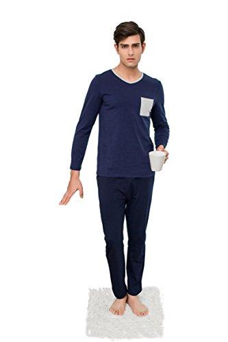 Kostüm Man Simple (Qianxiu schlafanzüge herren nachtwäsche herbst nachtzeug bequem mode langarm pyjamas)