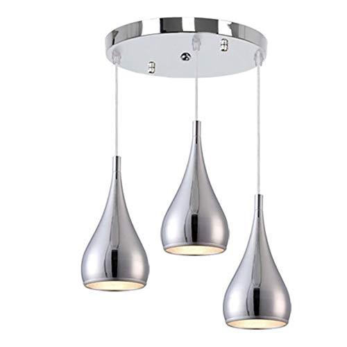 YXTK Pendelleuchten HöHenverstellbar,Modern Einfache Kreativität Deckenlampe Pendellampe Hängeleuchte Esszimmer Metall Hängelampe Schlafzimmer Esstisch Cafe(Ohne Glühbirne), Chrome -