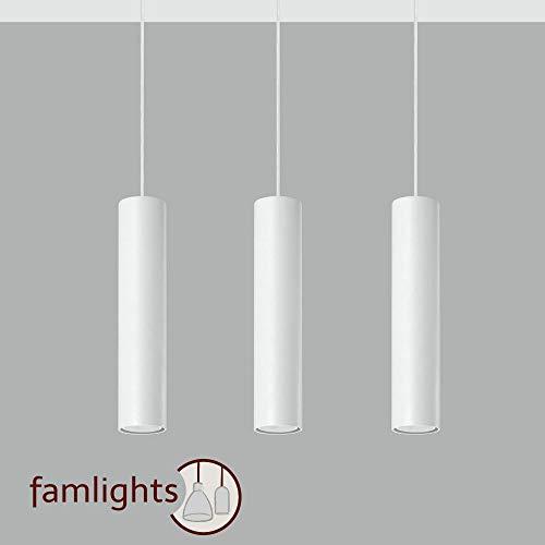 famlights Brian Pendelleuchte aus Stahl in Weiß, 3-Flammig   Deckenbeleuchtung hängend Esszimmerlampe Flurlicht Küchenlampe Raumbeleuchtung Industrial   GU10