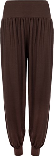 WearAll - Grande Taille uni Pantalons Harem Pants - Brun Foncé - 48-50