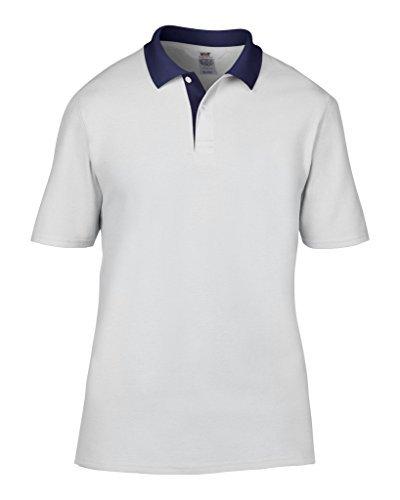 MAKZ Herren Poloshirt Weiß/Marineblau