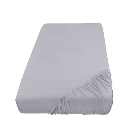 Spannbettlaken Bettlaken 180x200-200x200 cm/Spannbetttuch Spannleintuch aus Jersey Baumwolle in silber/hellgrau für Doppelbett-Matratzen