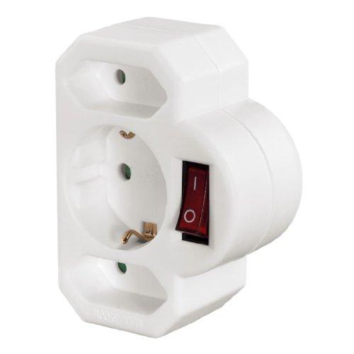 Hama 3-fach Steckdosenadapter mit Schalter zum Stromsparen (Multistecker 2x Eurosteckdose & 1x Schutzkontakt Mehrfachsteckdose, Adapterstecker, Doppelstecker) weiß