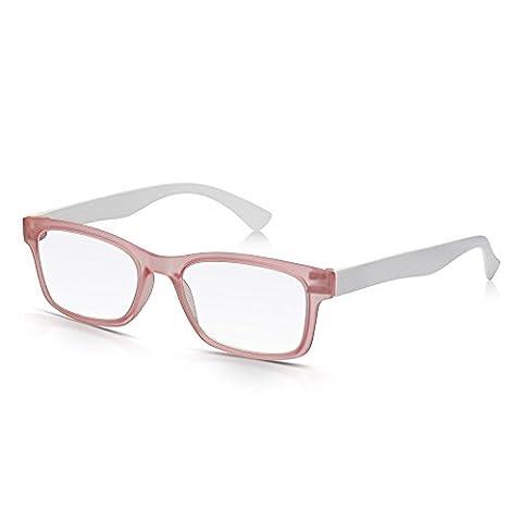 Read Optics Trendy Ultra Leichte Rechteckige Vollfassung Lesebrillen in Lichtdurchlässigem Pink und Solidem White: Starkes, leichtes Polycarbonat mit Qualitätslinsen für Männer und Frauen, Stärke (Leichtem Polycarbonat-rahmen)