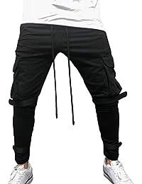junkai Herren Retro Casual Hosen Gro/ße Tasche Fitness Klett-Slim-Jogginghose Sportwear Jogging-Outdoor-Hose Mit Kordelzug M-3XL