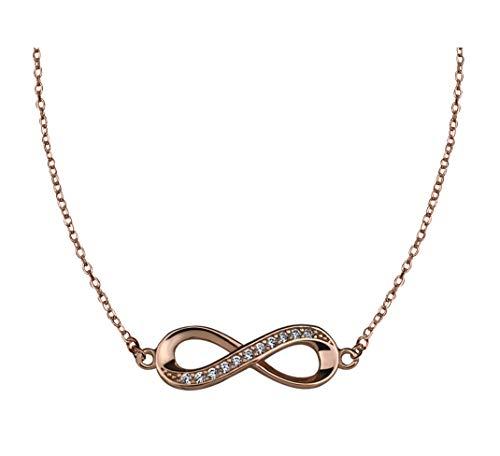 SOFIA MILANI Damen Halskette Unendlich Infinity Silber Rose Vergoldet 50248