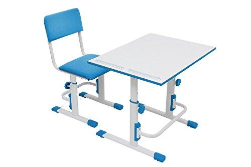 Polini Kids Schul-Set Schreibtisch mit Stuhl höhenverstellbar Kinderschreibtisch mit Kinderstuhl in verschiedenen Farben (Weiß Blau)
