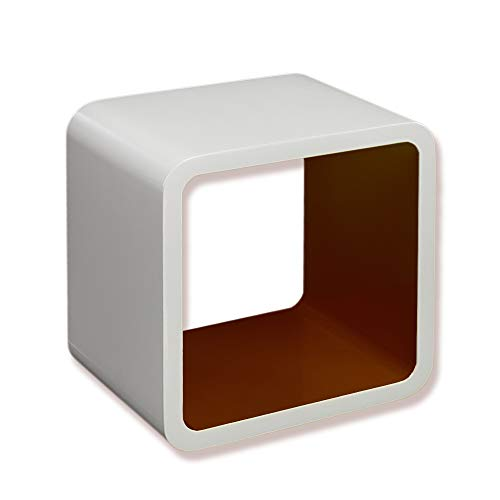 Homestyle4u 820, Design Wandregal Weiss Braun, Regal Cube Retro Design