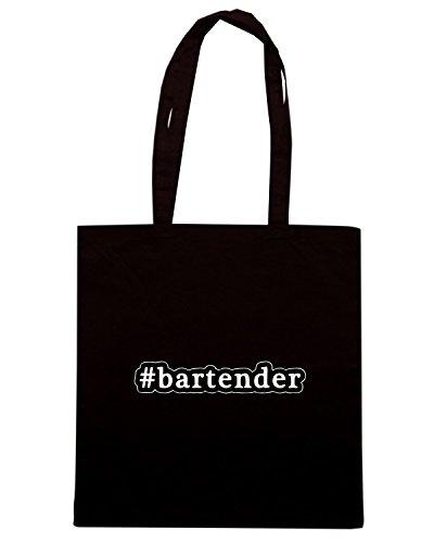 T-Shirtshock - Borsa Shopping BEER0164 Bartender - Hashtag - Black and White Nero