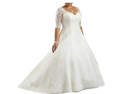 Cloverbridal Damen Hochzeitskleider Halb Aermel Brautkleider Übergröße V-Ausschnitt