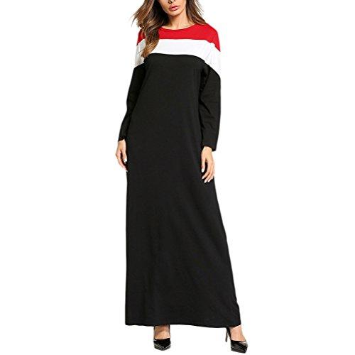 Zhhlaixing Mode Muslime Damen Rundhals Rot / Weiß / Schwarz Farbe Nähen Lange Ärmel Mittlerer Osten Abaya Kleid Türkisch