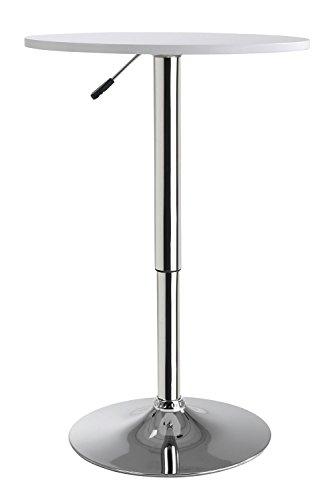Home4You Stehtisch Bistrotisch Beistelltisch | Weiß | Metall | höhenverstellbar | Ø 60 cm -