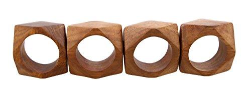 Shalinindia Anelli di tovagliolo artigianalmente in legno naturale-Set di 4 anelli, RH_Z_1717_S4
