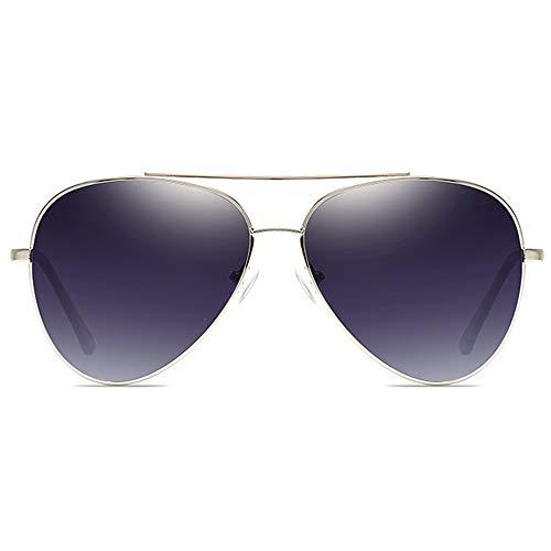 WULE-Sunglasses Unisex Silberrahmen Blau/Grau Verlaufsglas Männer und Frauen mit polarisierter Sonnenbrille New Classic Metal Sonnenbrille (Farbe : Gray Gradient)