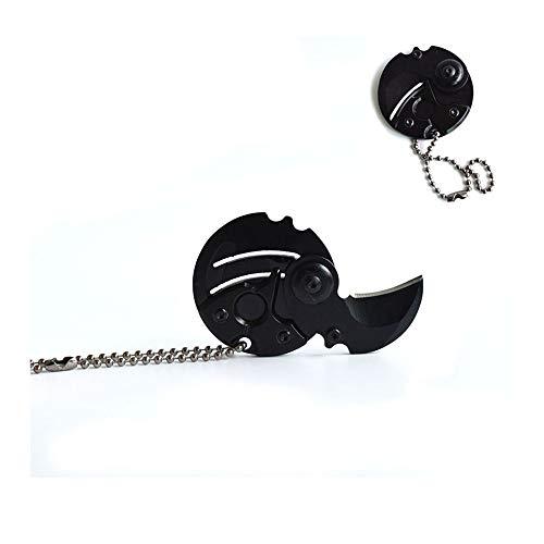 EDC Portable Key Fold Messer Geschenk Schlüsselanhänger Outdoor Tools Folding Camping Schlüsselanhänger taktische Jagd Überlebenstasche Mini Karambit, KE55B SCHWARZ (Folding Messer Karambit)