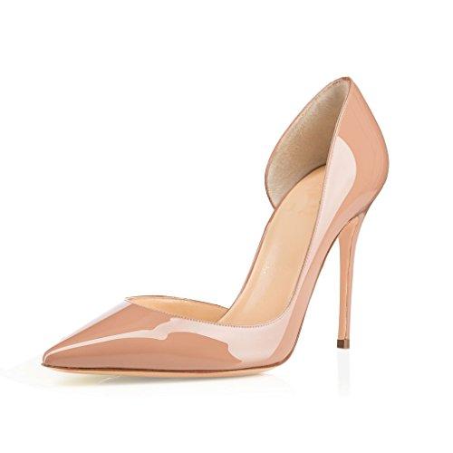 EDEFS Damen Stilettos High Heels Übergröße Damenschuhe Spitze Zehen Zwei  Stücke Lackleder Pumps für Partei und