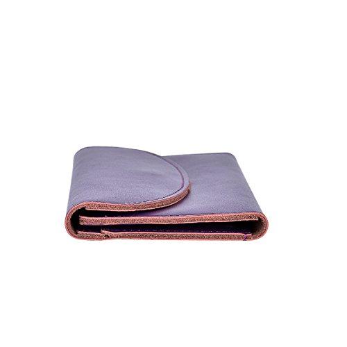 Cozywind Donna Portafoglio Pelle Lungo Trifold Portamonete Grande Sottile (Nero) Purple