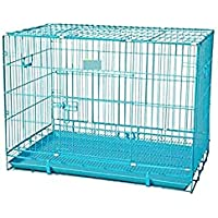 Double Door Folding Metal cage with Removable Tray and paw Protector for Dogs ,Cats and Rabbits 36 inch ( Blue…