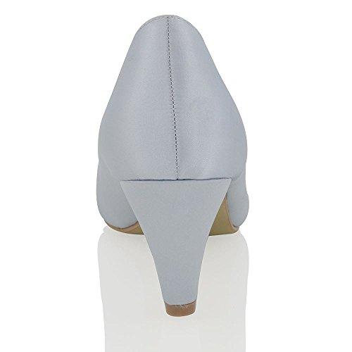 Essex Glam Scarpa Donna Matrimonio Peep Toe Tacco a Spillo Cinturino Posteriore Satinato Finto Diamante Argento Satinato