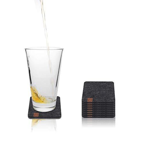 Miqio® Design Glasuntersetzer - Filz und Leder - Waschbar - 10er Set mit Echtleder Applikation