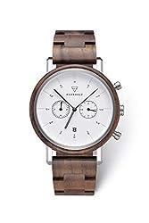 KERBHOLZ Holzuhr - Classics Collection Johann Quarz Uhr, Chronograph für Herren, Gehäuse und verstellbares Armband aus massivem Naturholz, Ø 45mm, Walnuss Silber Weiß