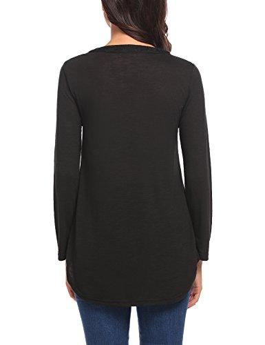Damen Bluse Casual Langarmshirt V Ausschnitt Langarm Lose Shirt Oberteil Tops mit Spitz A-Schwarz