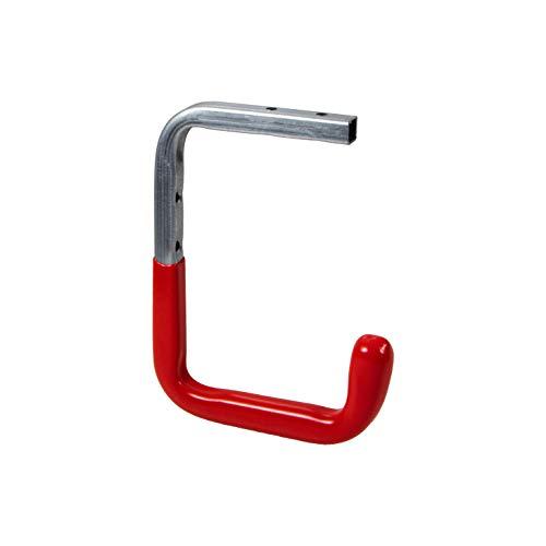 Gedotec Wand-Haken Metall Decken-Haken Garage & Werkstatt für Leiter - Schlauch UVM. | 150 x 255 x 155 mm | Stahl verzinkt | Geräte-Haken rot gummiert | 1 Stück - Gerätehalter für Wand-Montage