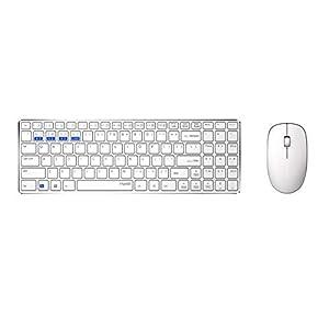 Rapoo 9300M – Tastatur mit Maus – kabelloses ultraflaches Multi-Mode-Deskset für Büro, Schreibtisch, 1000 DPI Sensor, weiß