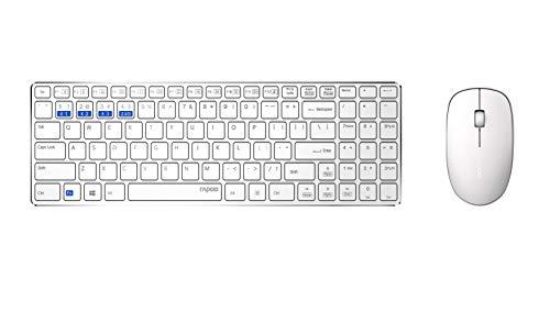 Rapoo 9300M kabelloses ultraflaches Multi-Mode-Aluminium Deskset (Tastatur und Maus) für Büro, Schreibtisch - Bluetooth 3.0, Bluetooth 4.0, 2,4 GHz-Funkverbindung, weiß