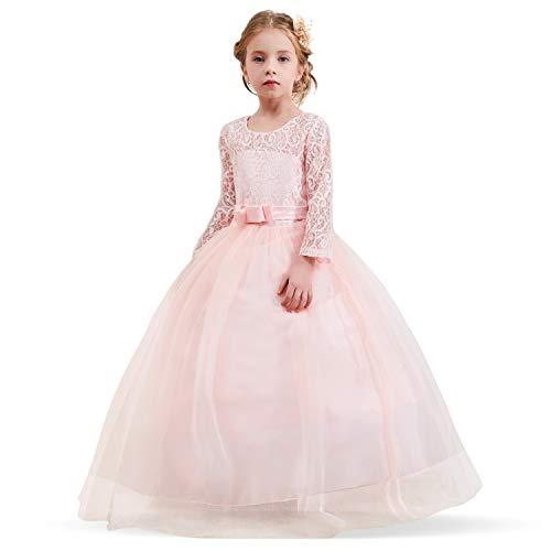 Vestito Principessa per Ragazza Elegante Floreale Fiore Pizzo Abiti ... 10ceb8ddd06