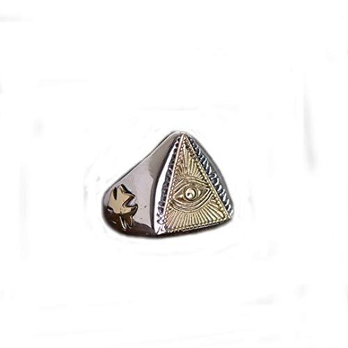 zhenfa S925 Silberring,S925 Silber Herren Kupfer Silber Horus Eye Wide Ring,Vintage Gravur Hohlkörper,Einstellbarer Ring,Hypoallergen,Mit Einer Ringbox