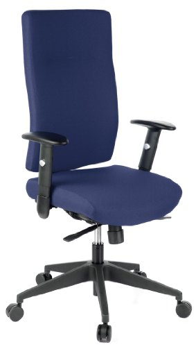 hjh OFFICE 608510 Bürostuhl Drehstuhl PRO-TEC 300 Stoff blau, Bürodrehstuhl ergonomisch, extrem robuster Stoff, extra hohe Rückenlehne, verstellbare Armlehnen, Schreibtischstuhl, Chefsessel