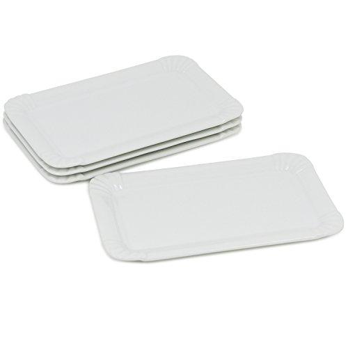 Com-four® 4x Plato de porcelana fina en apariencia de cartón, plato de postre en blanco,...