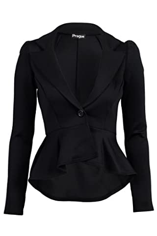 55F Womens Black Long Sleeved Ladies Peplum Tailored Mullet Blazer
