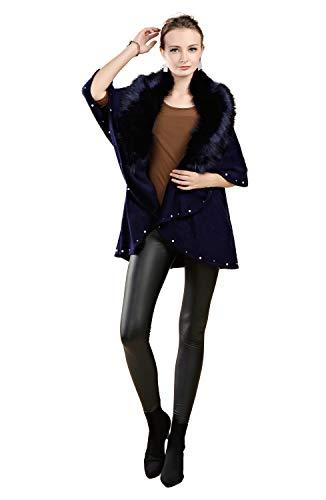 Folobe cappotto invernale in maglione lavorato a cardigan con collo a scialle in pelliccia sintetica
