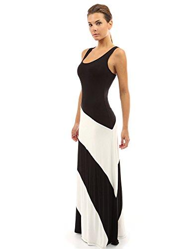 PattyBoutik Damen Racerback gestreiftes Maxi-Kleid mit Rundhalsausschnitt und ärmellos (Schwarz und Elfenbeinweiß 44/L) (Schwarz Maxi-kleid Größe 16)