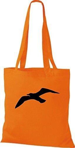 ShirtInStyle Stoffbeutel Baumwolltasche Sailing Motive Möwe orange