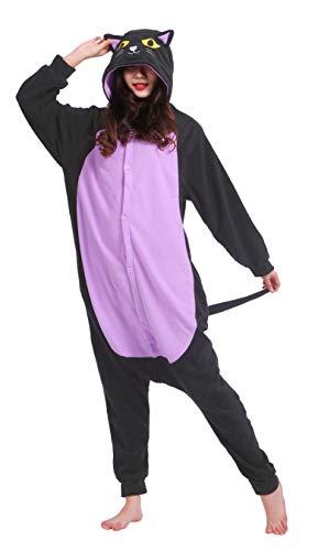 SAMGU Halloween Katze Onesie Unisex Erwachsene Tier Animal Kigurumi Schlafanzug ()