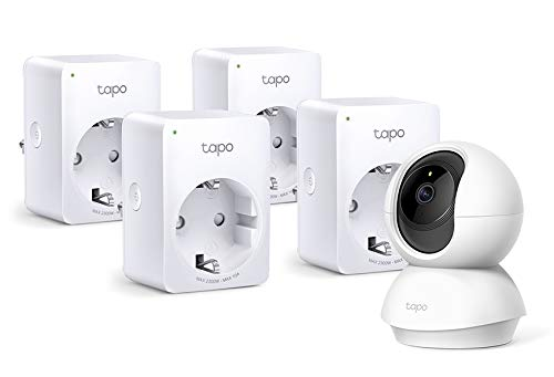 Oferta de TP-Link - Cámara IP WiFi y Webcam, admite Tarjeta SD de hasta 128 GB, FHD 1080p + TP-Link Tapo P100 4-Pack - WiFi Enchufe Inteligente Mini