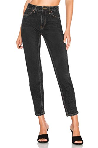 H HIAMIGOS Damen 80's Style Mom Jeans Boyfriend Baggy High Wiast Loose Fit, schwarz, 25 -