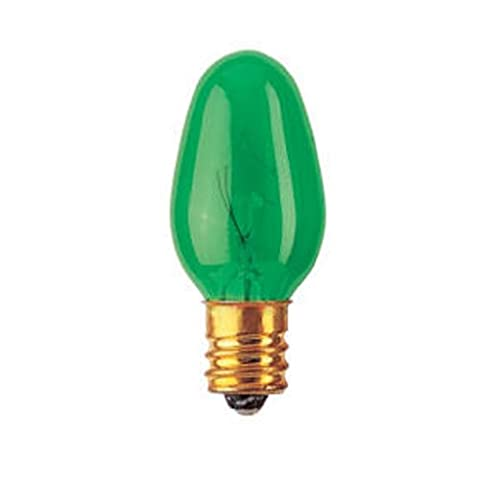 Bulbrite 5C7Tg 7W C7 Christmas Light, Transparent Green