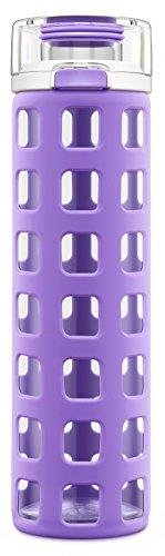 Ello Syndicate - Botella de agua de cristal con tapa abatible, sin bis